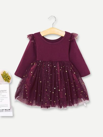 UK Infant Kids Baby Girls Long Sleeve Party Dress Ruffled Casual School Dresses