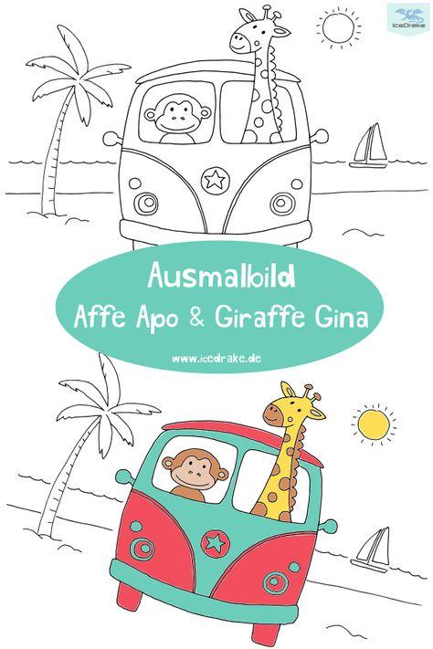 Ausmalbild Affe Apo Giraffe Gina Icedrake Blog