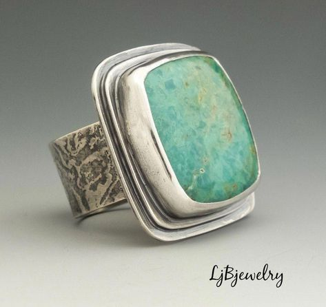 Handmade Jewelry by Laura Jane Bouton - Silver Ring Turquoise Ring Statement Ring Turquoise Jewelry Turquoise Silver Metalsmith Jewel -