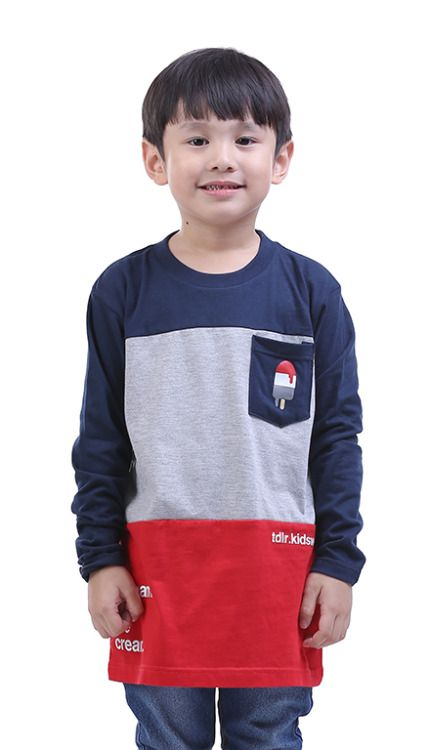 Kaos Anak Laki Laki T 0221 Cotton Combed Biru Kombinasi Kaos