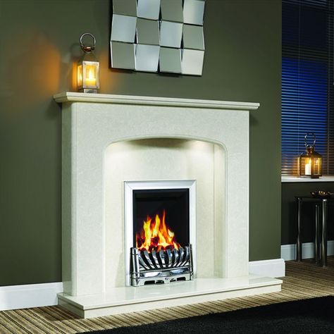 """Curvaceous appeal and stepped bullnose profiling make this marble surround perfect for any room style. Supplied complete with surround, back panel and standard lipped hearth. Ideal for gas and electric fires. Viola 48"""" Micro Marble Surround - JUST £799   #Fireplaces #Marble #DiscountFireplaces #Cheap #Fire #HomeImprovement #HomeDecor"""
