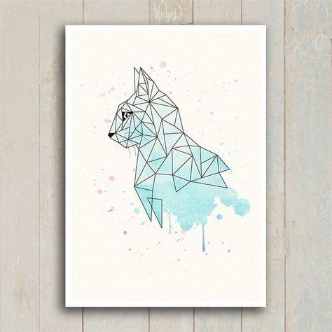 Poster Geometric Cat