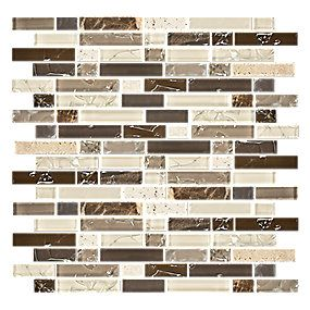 Mexican Sand Stria with Glass Mosaic 12 x 12.5 in.