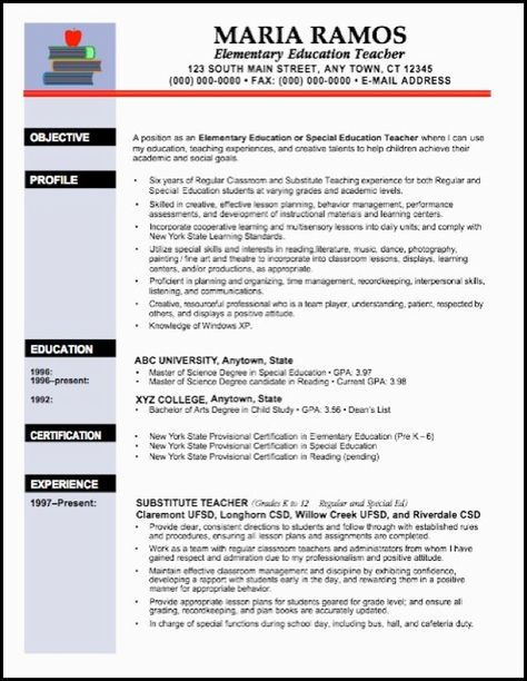 like the layout\/headings teacher resume examples Pinterest - resume for early childhood education