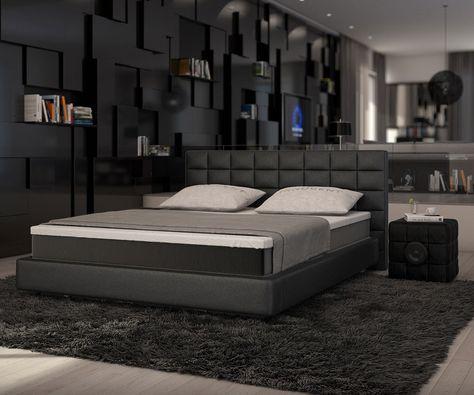 Boxspringbett Junis 180x200 Schwarz Matratze und Topper Betten - schlafzimmer mit boxspringbetten schlafkultur und schlafkomfort