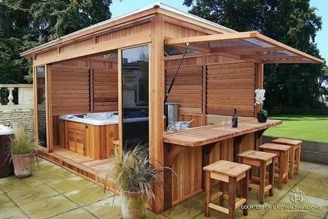 Hot tub gazebo - Would it look right to put an outdoor kitchen under screened pool Hot Tub Gazebo, Hot Tub Backyard, Backyard Gazebo, Cozy Backyard, Backyard Seating, Backyard Ideas, Patio Ideas, Hot Tub Garden, Garden Decking Ideas