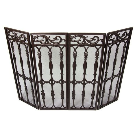 Westinghouse Wrought Iron 4 Panel Brown Fireplace Screen