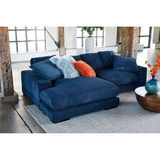 Shop Aurelle Home Polk Blue Sectional Sofa - On Sale - Free ...