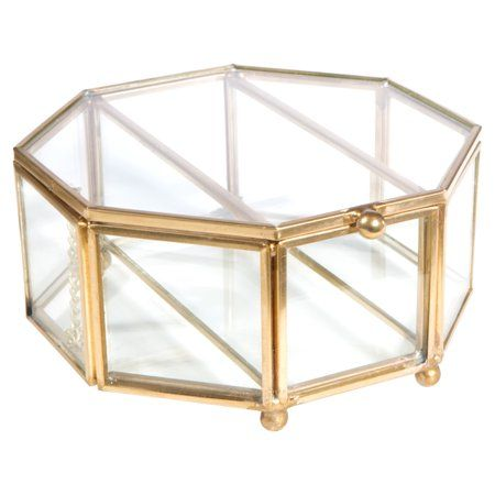 Home Details Vintage Copper Medium Octagon Glass Brass Metal Jewelry Box 5 1x5 1x2 4 Inch W Top Lid Keepsake Boxes Glass Boxes Octagon