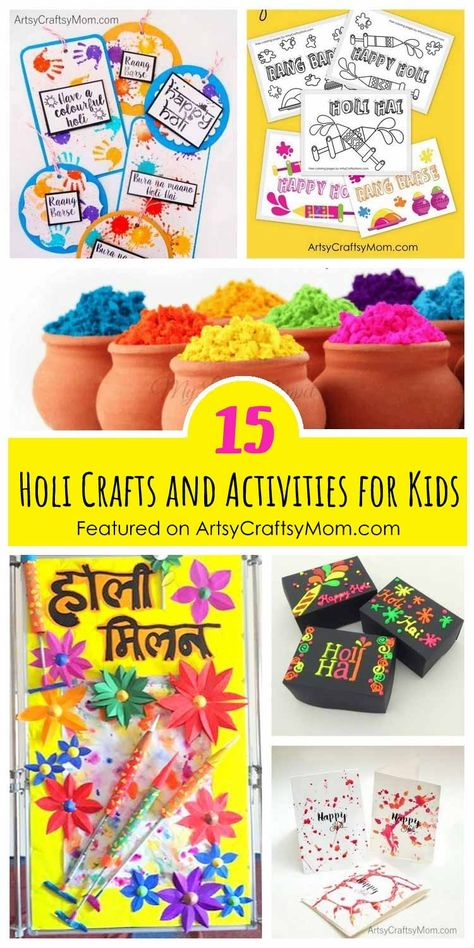 We've got 15  Holi crafts and activities for kids including Free coloring pages, printables, chart activities to keep your kids busy during the Holi festival! #holi #festivalofcolours #holifestival #kidscrafts