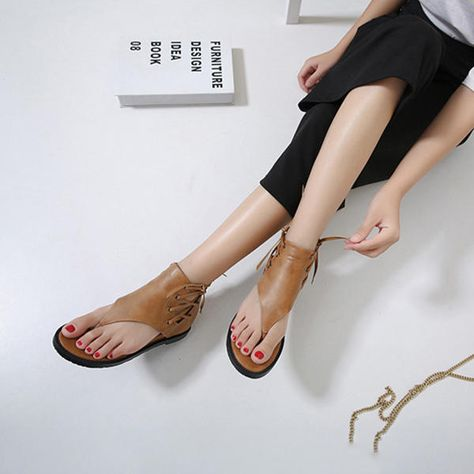 Details about Womens Gladiator Round Toe Flat Sandals Cut Out Lady Roma Style Goth Retro Shoes