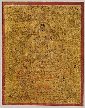 Shadakshari Lokeshvara with Deities and Monks, late 15th century Tibet #Tibetan #Thangka