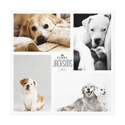 Customizable Family Furry Pet White Photo Collage Stretched Canvas Print