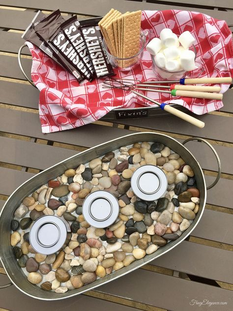 Easy Smores Party – All For Garden Indoor Smores, Indoor Camping, Camping Indoors, Camping Party Foods, Camping Parties, Garden Parties, Outdoor Parties, Dinner Parties, Camping Meals