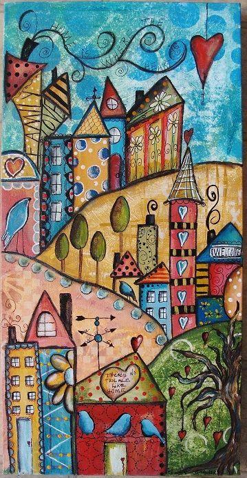 Whimsical art, home art, mixed media canvas, mixed media artwork, art journal