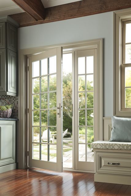 French Doors With Grids For A Traditional Look In This Summer House Open The Doors And Enjoy The Br Hinged Patio Doors Single Patio Door French Doors Interior