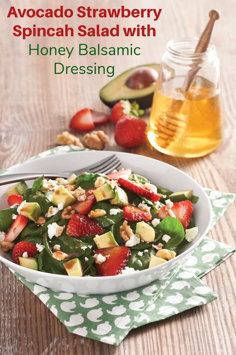 A delicious way to enjoy ingredients like avocado and strawberries which our hard-working honey bees play a role in pollinating. Adding honey is my favorite way to sweeten up balsamic vinegar as my go-to, super simple and delish dressing. @nationalhoney #ad