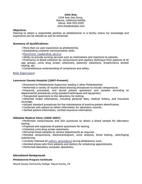 Phlebotomy Resume Includes Skills Experience Educational Background As Well As Award Of The Ph Resume No Experience Resume Objective Examples Resume Examples