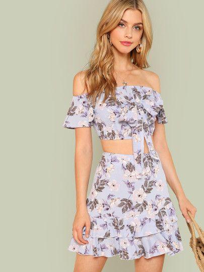 Shop Knot Front Crop Top & Ruffle Hem Skirt Set online