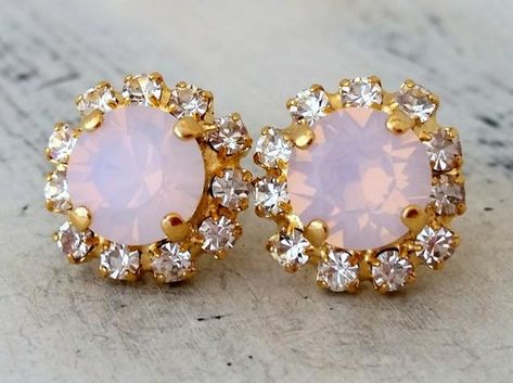 #weddings #jewelry #earrings #bridesmaidgift #bridalearrings #bridesmaidsearrings #pinkearrings #swarovskiearrings #studearrings #blushpinkstuds #opalearrings #crystalearrings #pinkopalstuds #pinkwedding #pinkbridesmaid
