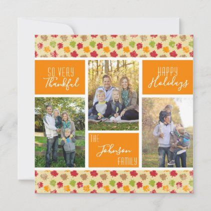 So Very Thankful Photo Collage Thanksgiving Holiday Card Zazzle Com In 2020 Holiday Cards Holiday Design Card Family Photo Collages