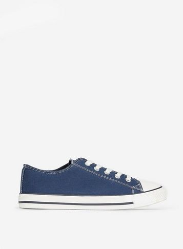 Wide Fit Navy Icon Trainers In 2020 Lace Up Trainers Trainers Lace Up
