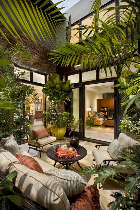 Mobilier de jardin et plantes d'extérieur.