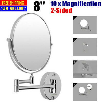 Details About 8 Foldable Round Base Wall Mounted Makeup Mirror 2 Side 10x Magnification 360 In 2020 Wall Mounted Makeup Mirror Magnification Mirror Makeup Mirror