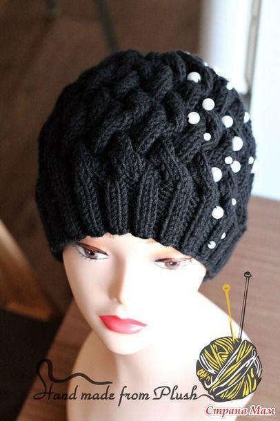 вязание шапок узором плетенка видео