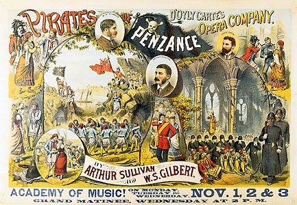 1880 Opera Classical Music Poster Gilbert /& Sullivan PIRATES OF PENZANCE London