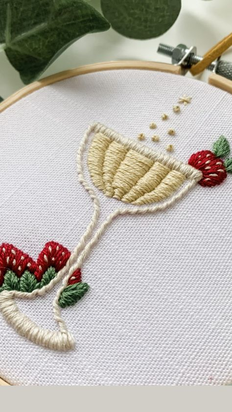 Champagne and Strawberries Hand Embroidery Pattern
