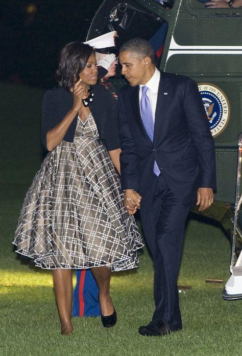 President Barack Obama & First Lady Michelle Obama in Isabel Toledo.