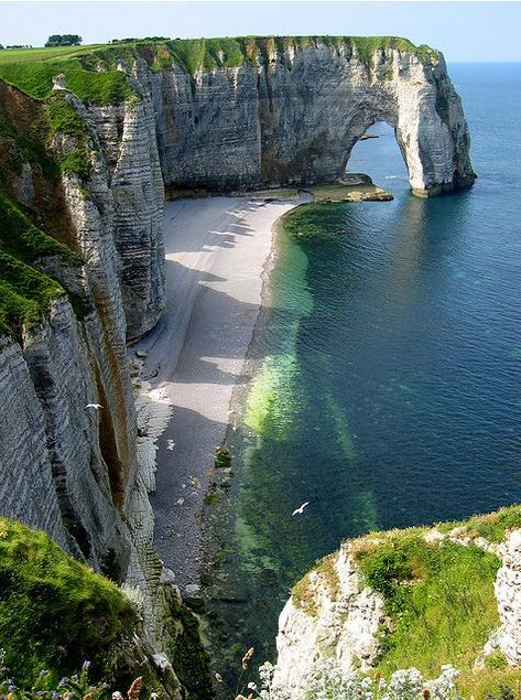 Etretat, France - There is something that is so erringly familiar about this place -k. Places to visit l Travel destination l Tourism Etretat France, Etretat Normandie, Wonderful Places, Beautiful Places, Amazing Places, Beautiful Scenery, Amazing Things, Lovely Things, Amazing Nature