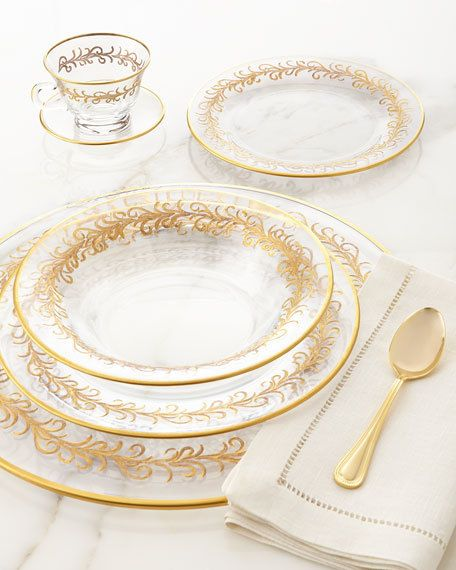 High Class Elegance Vintage Style 24k Gold Scroll Accent Clear Glass Dinnerware Glass Dinnerware Dinnerware Tableware Fine China Dinnerware