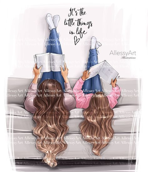 Mother and daughter life instant download fashion illustration momlife best life little things in life by AllessyArt on Etsy