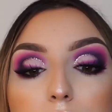GLITTERY PURPLE EYE MAKEUP TUTORIAL #purplemakeup #glitterymakeup #EyeMakeupGreen