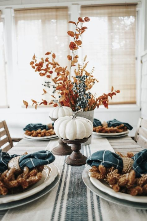 Blue + Earth-Toned Fall Tablescape Blue + Earth-Toned Fall Tablescape More from my site Simple Fall Tablescape Ideas Using Blue and White 25 Best Cheap DIY Thanksgiving Tablescape Ideas Naked Cake Farmhouse Fall Tablescape Thanksgiving Decorations, Seasonal Decor, Holiday Decor, Diy Thanksgiving, Autumn Decorations, Fireplace Decorations, Fall Centerpiece Ideas, Healthy Thanksgiving Recipes, Thanksgiving Tablescapes