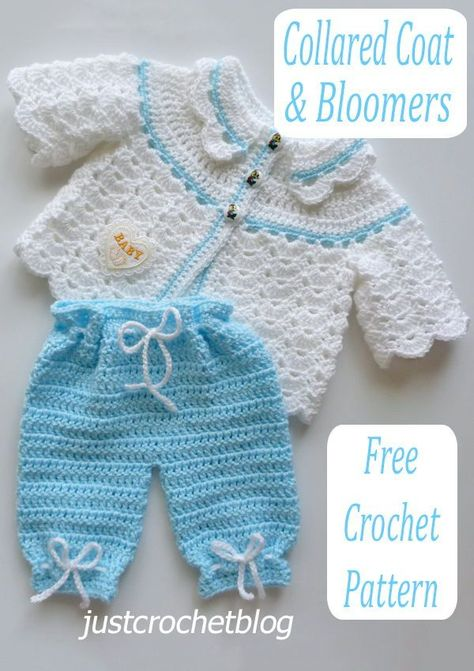 Crochet Baby Bloomers, Crochet Girls Dress Pattern, Crochet Applique Patterns Free, Crochet Baby Sweater Pattern, Crochet Collar, Crochet Baby Cocoon, Baby Girl Crochet, Crochet Baby Clothes, Newborn Crochet