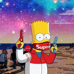 Freetoedit Bart Simpson Supreme Maskon Remixit Fond D Ecran
