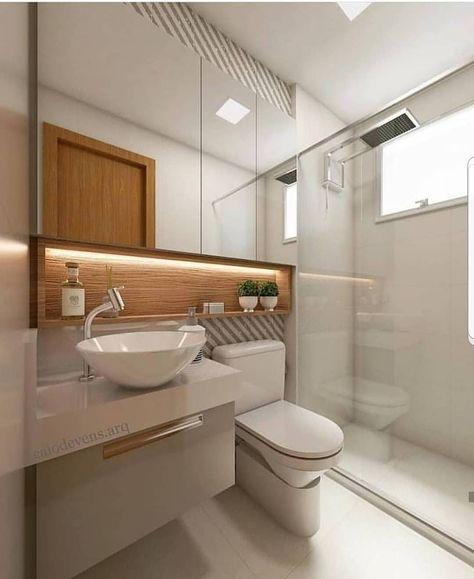 """🌿Apto 702C on Instagram: """"👉De 0 a 10, que nota?  Banheiro super moderno, olha como o espelho deu uma ampliada no ambiente. . . . Autoria desconhecida, conhece?…"""""""