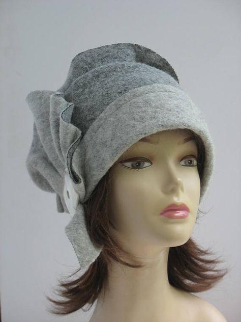 aa9b25dc289 Cloche felt hat cloche 1920s Hat GREAT GATSBY hat Flapper Hat Felted hat  gray Hat Fascinator