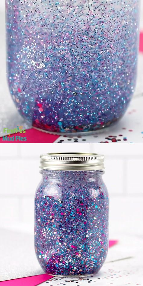 If you are looking for the ultimate resource on how to make a glitter jar, we've got you covered! Shared below is everything you need to know to make and use DIY glitter jars; a beautiful, calming, and easy sensory activity for kids. #glitterjar #howtomakeaglitterjar