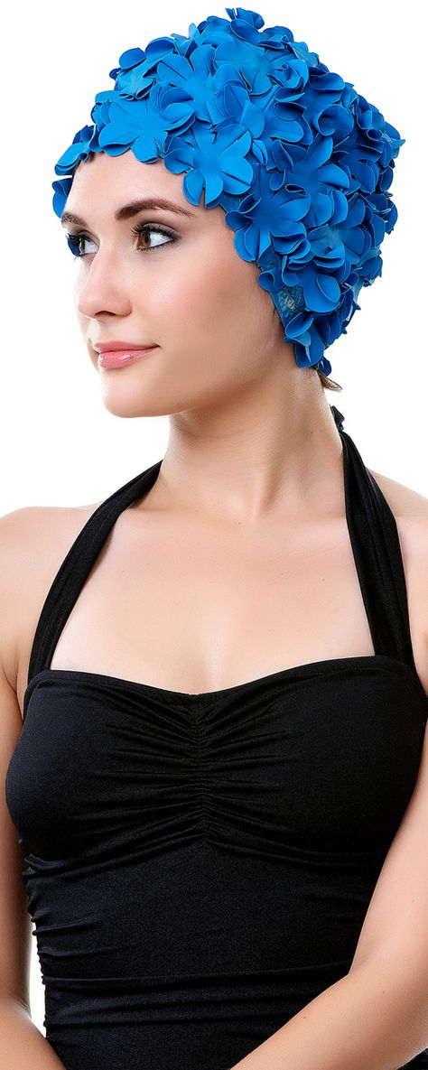 Retro 1950's Style Turquoise Blue Floral Swim Cap