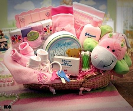 Baby Girl Gift Basket   Baby shower hostess gifts, Shower hostess ...