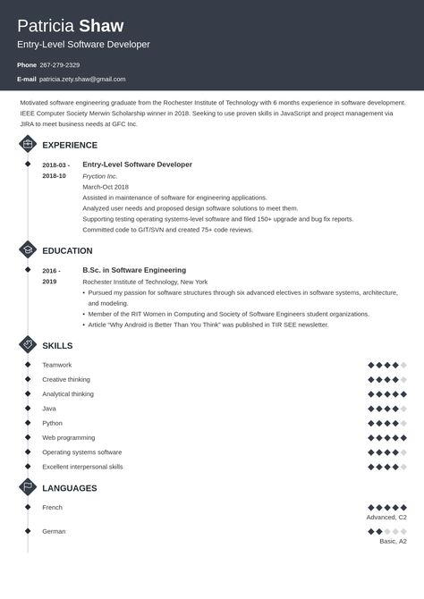 Entry Level Software Engineer Resume Example Template Diamond Job Resume Examples Software Engineer Resume Examples