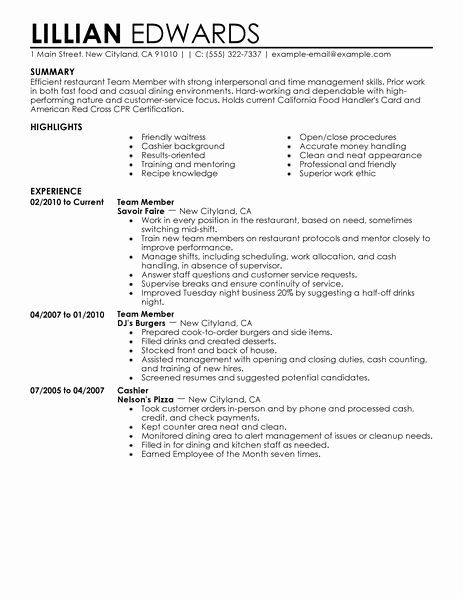 20 Fast Food Restaurant Resume In 2020 Retail Resume Examples
