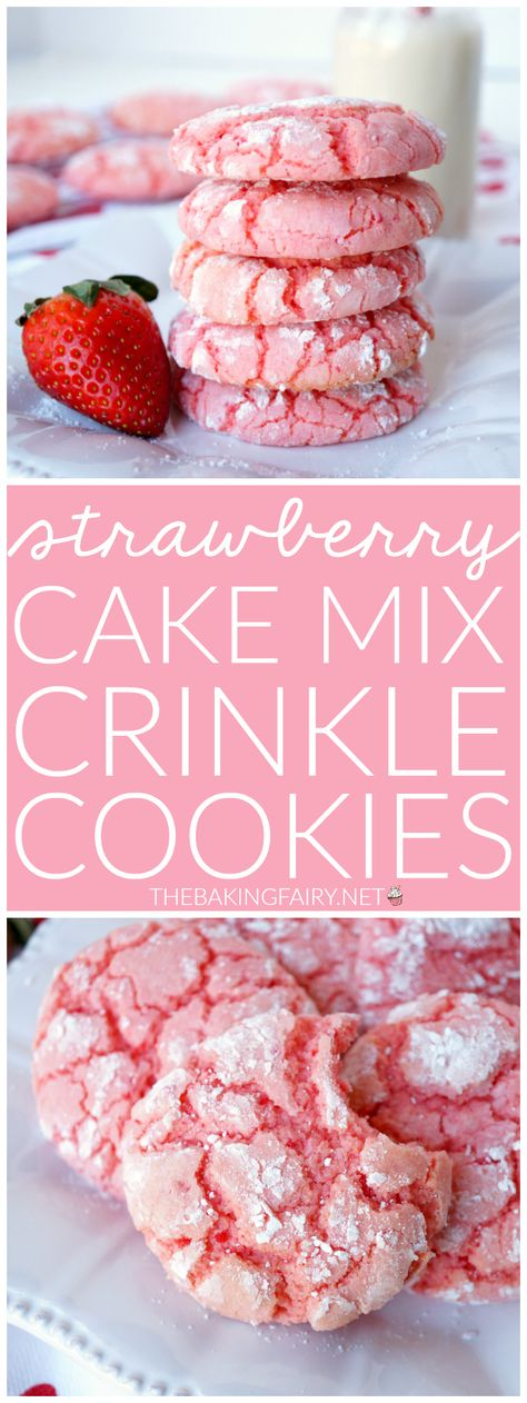 Strawberry cake mix crinkle cookies If you're looking for the easiest cookie recipe of all time, look no further! These Strawberry Cake Mix Crinkle Cookies require just FOUR ingredients and come out perfect every time! Cake Mix Cookie Recipes, Easy Cheesecake Recipes, Dessert Recipes, Cake Mixes, Sweets Recipe, Fun Baking Recipes, Recipe Recipe, Chocolate Chip Cookies, Chocolate Cookie Recipes