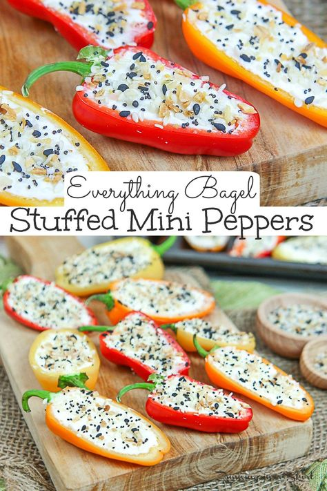 Everything Bagel Cream Cheese Stuffed Mini Peppers recipe - the best healthy appetizers finger foods! This recipe uses cream cheese cold and greek yogurt. An EASY 4 Ingredient Vegetarian recipe - keto, low carb and gluten free too. So simple and delicious. Clean Eating. / Running in a Skirt #superbowlrecipe #healthyliving #keto #lowcarb #vegetarian #glutenfree #cleaneating via @juliewunder