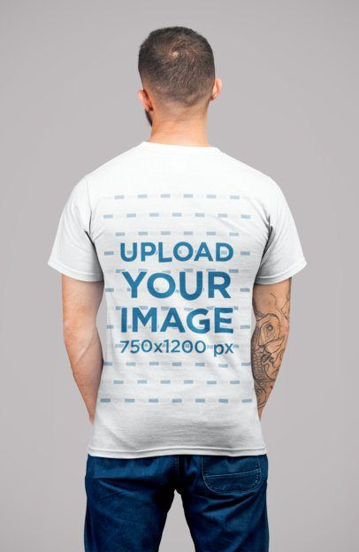 Download Placeit Back View Mockup Of A Tattooed Man Wearing A Round Neck Tee At A Studio Shirt Mockup Tshirt Mockup Shirts
