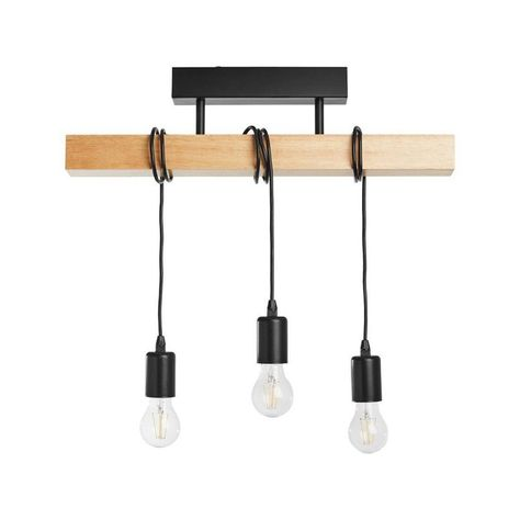 Townshend Plafonnier 3 Lumieres Barre Bois L55cm Blanc Eglo In 2020 Ceiling Lights Roof Light Wood Ceilings